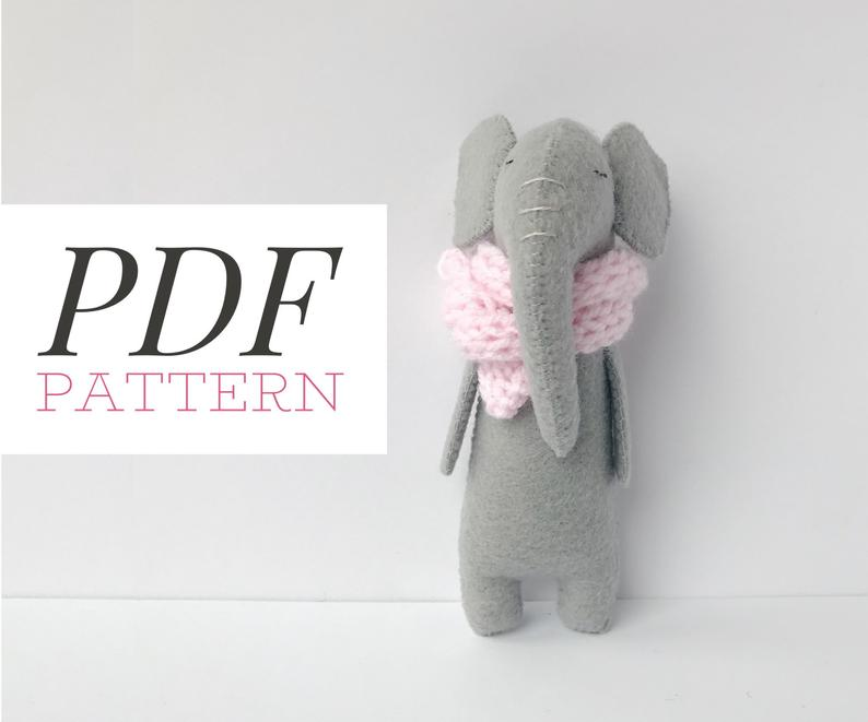 Felt Elephant Sewing PATTERN