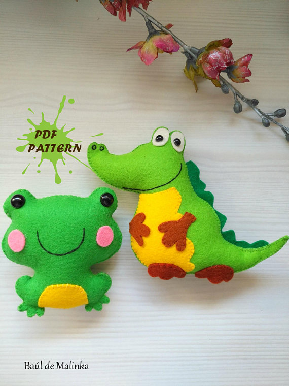 Felt Crocodile and Frog PDF pattern