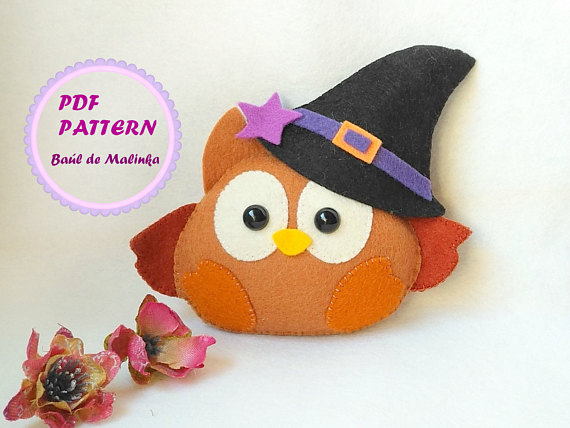 Felt Owl ornament pattern Plush sewing tutorial