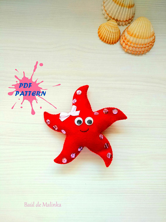 Felt PDF sewing pattern - Starfish
