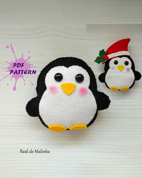 Felt Penguin PDF pattern-Christmas ornament