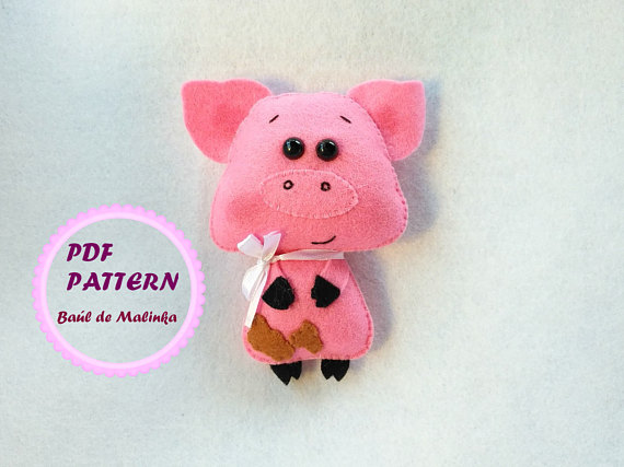 Felt pig pattern PDF sewing tutorial