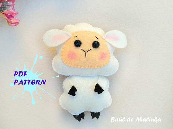 Felt Sheep PDF pattern - Baby's mobile toy