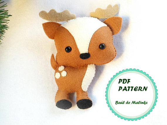 Felt woodland animal Deer PDF pattern