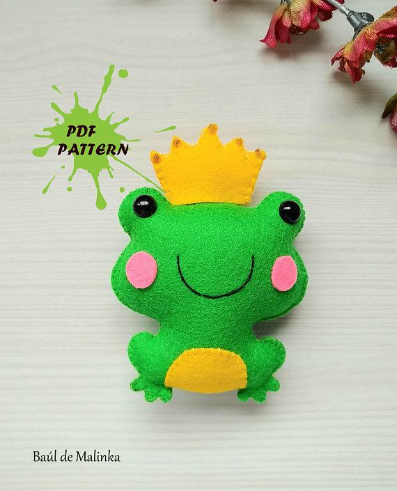 Frog PDF pattern- Felt princess frog toy
