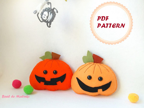 Halloween felt ornaments Pumpkin pattern
