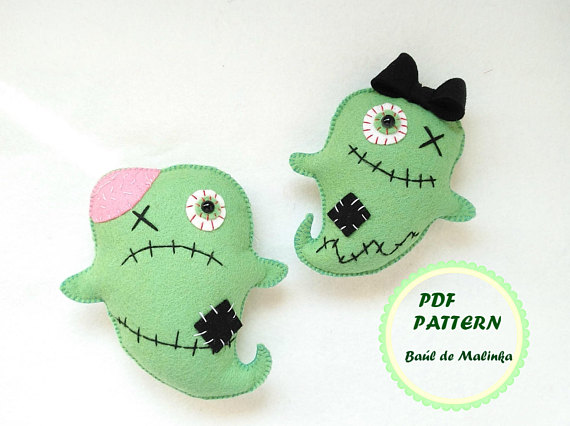 Halloween ghost ornament felt zombie pattern