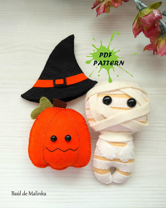 Mummy, Pumpkin PDF pattern - Halloween ornament