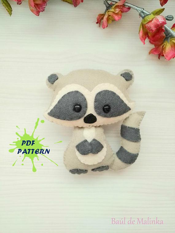 Raccoon PDF pattern-Woodland animals toy