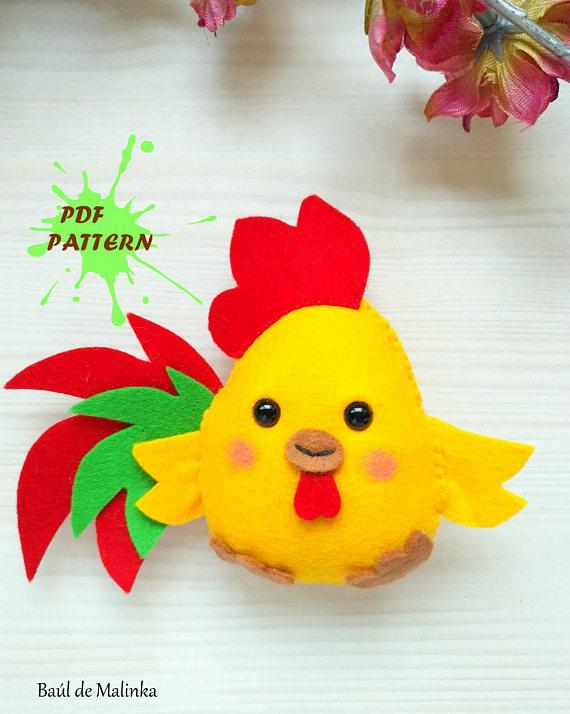Rooster PDF pattern- Felt chicken toy