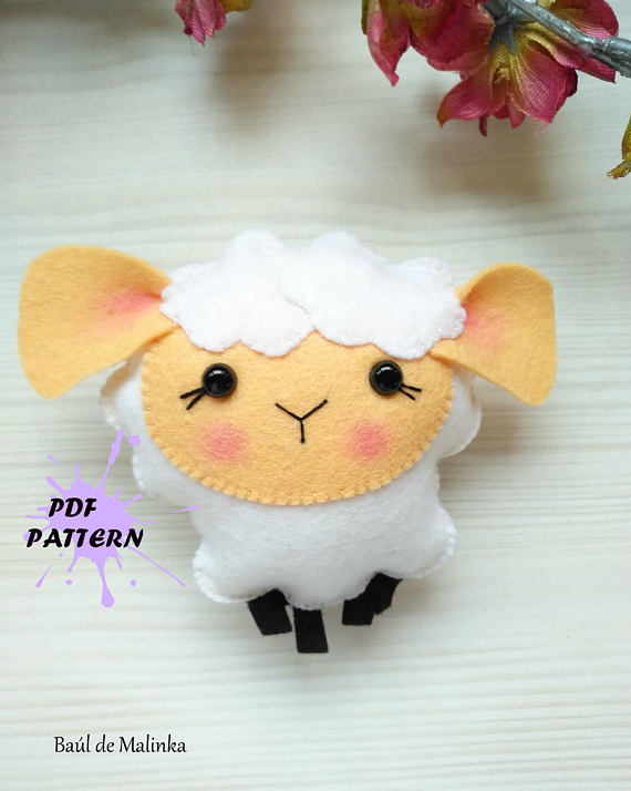 Sheep PDF pattern- Felt sheep toy