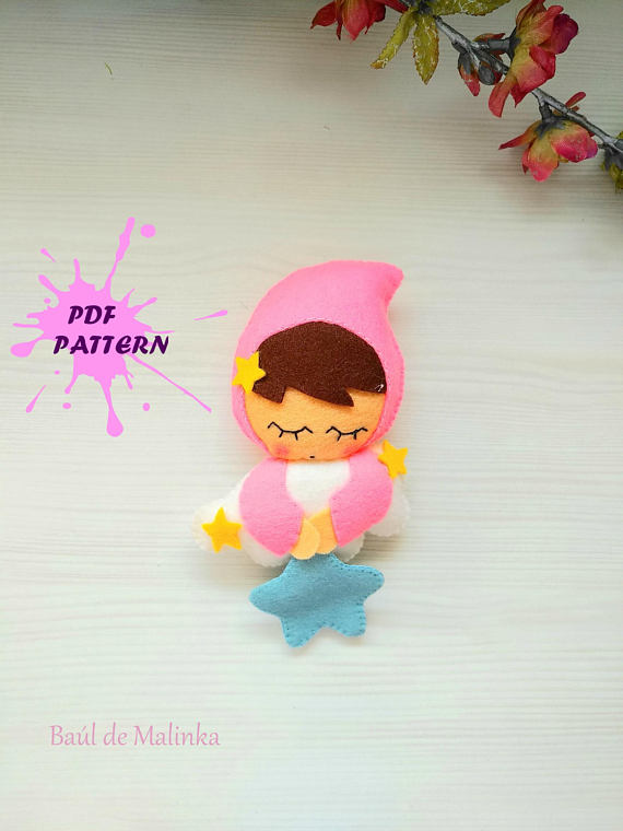 Sleeping baby PDF pattern- Little star-DIY-Nursery decor-Baby's mobile toy