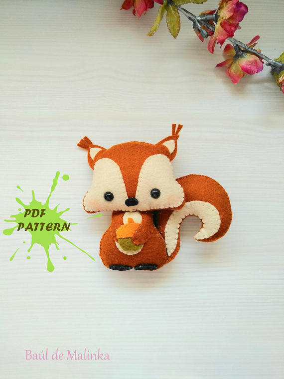 Squirrel PDF pattern-Woodland animals toy