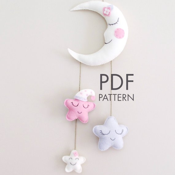 Felt Hanging Moon PDF Pattern. Make Your Own Felt Hanging Decor.