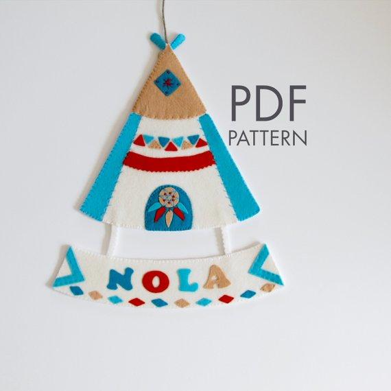 Felt Personalized Tipi PDF Pattern.