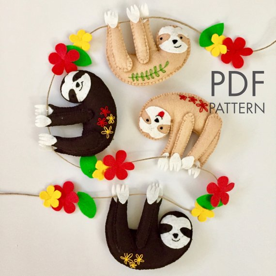 Felt Sloths PDF Pattern. Make Your Own Felt Garland.