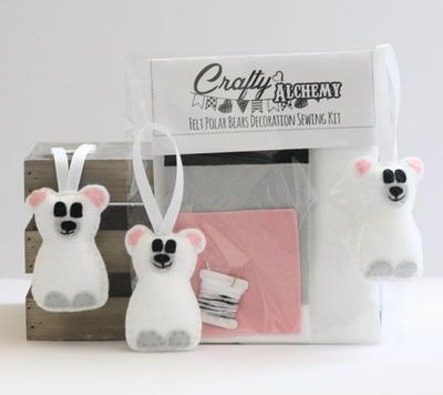 Felt Polar Bear Christmas Decoration Sewing Kit