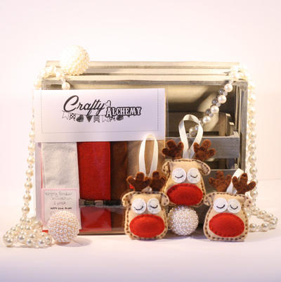 Felt Reindeer Christmas Decoration Sewing Kit - 3 pack
