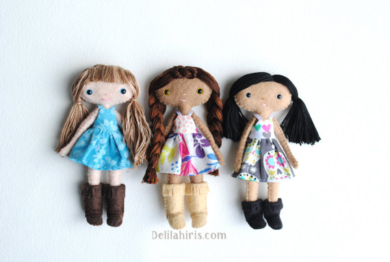 5 Inch Tall Doll Sewing Pattern - Sew Your Own Dolls With Cloth Dresses & Boots