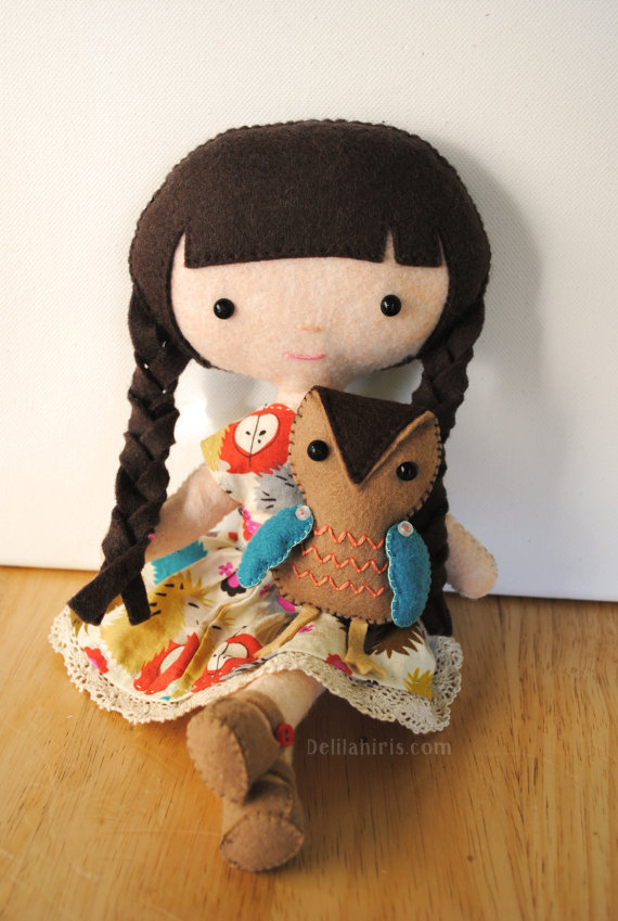 Emily & Owl Felt Doll Sewing Pattern