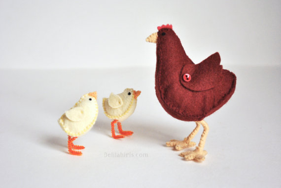 Felt Chick and Hen Toy - Barnyard Animals Toys