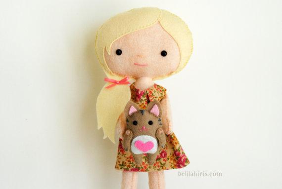 Felt Doll Sewing Pattern - Kady & Kitty
