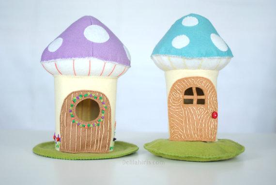 Felt Mushroom Doll House Sewing Pattern - Printable PDF Toadstool House