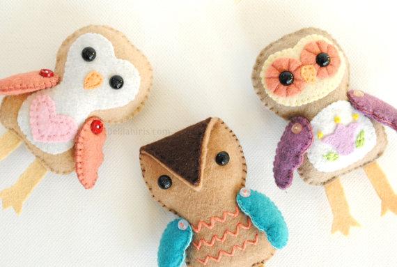 Felt Ornament Pattern - Stuffed Owl Doll Pattern
