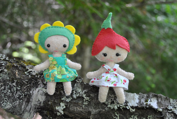 Flower Pixie Doll Sewing Patterns - 2 Felt Mini Pocket Dolls * Woodland Fairy Pixie Dolls *