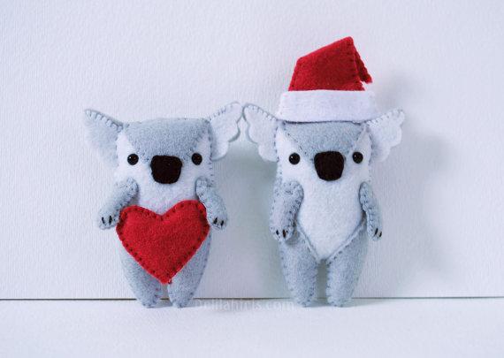 Koala Felt Ornament Sewing Pattern