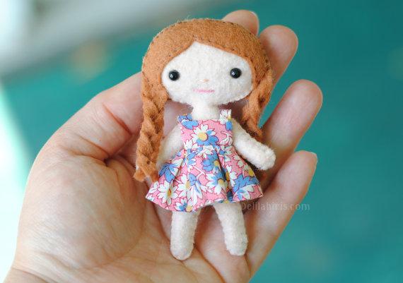Mini Felt Doll Pattern - Lola The Cutie Pie Pocket Doll