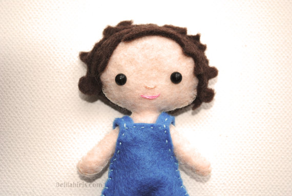 Mini Felt Doll Pattern, Tiny Pocket Doll Boy With Curly Hair