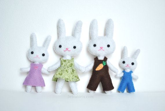 Mini Felt Family Of Bunny Rabbits PDF Sewing Pattern