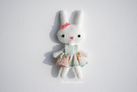 PDF Bunny Doll Pattern - Tiny 4 Inch Pocket Doll Sewing Pattern With Dress