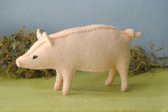 Printable PDF Felt Pig Sewing Pattern - Sew Your Own Stuffed Pig Toy