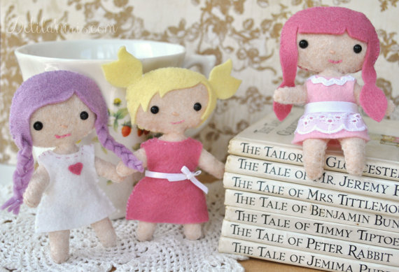Set of 3 felt dolls pattern