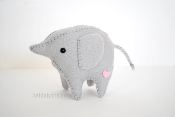 Sew Your Own Baby Elephant Stuffed Felt Animals