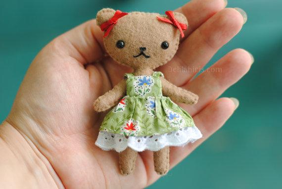 Teddy Bear Doll Pattern - Felt Doll Sewing Pattern