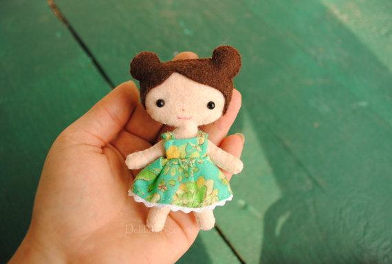 Tiny Felt Doll Pattern - Miniature Pocket Doll Sewing Pattern
