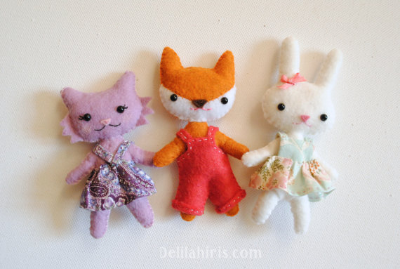 Woodland Animal Felt Doll Patterns - Kawaii Dolls - Cat Doll, Bunny Doll, Fox Doll Printable PDF