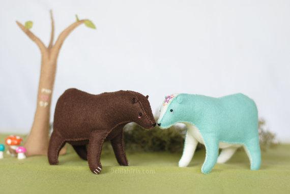 Woodland Bear Pattern - Stuffed Bear Grizzly or Polar Bear