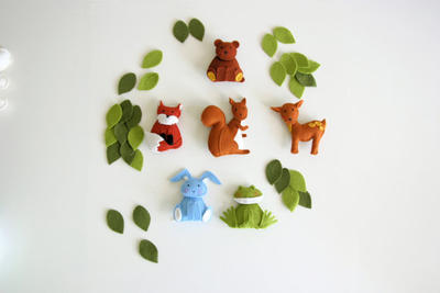 Pattern felt ornaments, squirrel, fox, frog, bunny, bear, deer