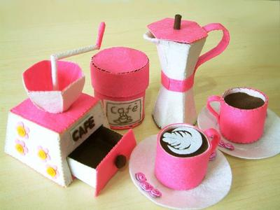 DIY felt Coffee maker,Moka express,Coffee set