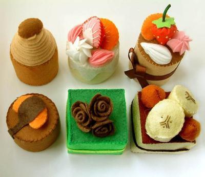 DIY felt Petit Fours - Patrón dulces de Fieltro