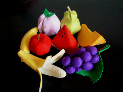 DIY Lovely fruit set 2 (Watermelon, banana, peach, pear, grape, honeymelon)