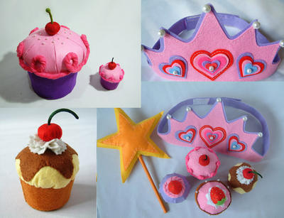 Felt cake pattern-Big cupcake and birthday cupcake set