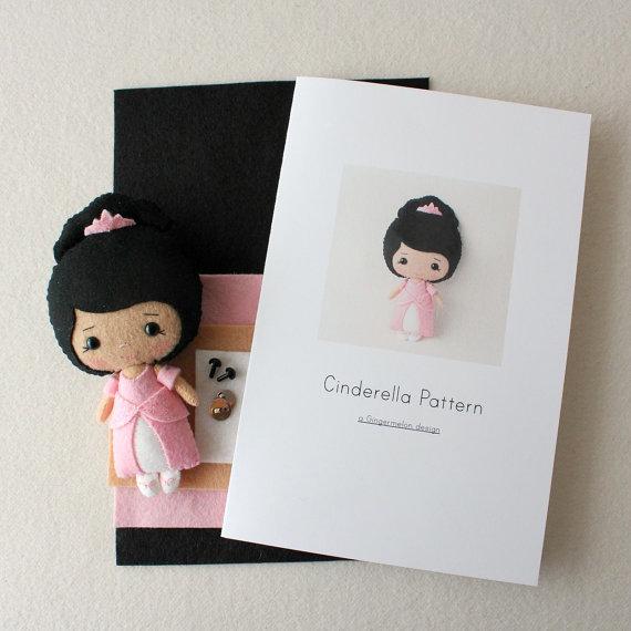 Patrón de Cenicienta Kit - piel media, vestido rosa