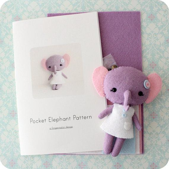 Pocket Elephant Felt Kit