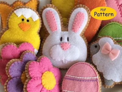 Pattern for Felt Easter Cookie Ornaments - Easter Decorations