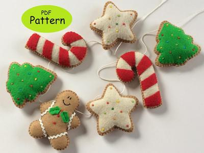 Sewing Pattern for Felt Christmas Garland Decoration